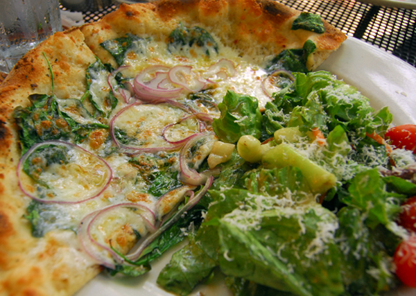 Half a Pizza and a Salad at Sette Luna