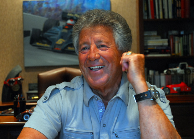 Mario Andretti during an interview in Nazareth, PA before the 100th Indy 500