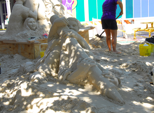 Sand Sculpture by the Sand Masters for the new Travel Channel show. In front of the Crayola Factory. Easton, PA, Lehigh Valley