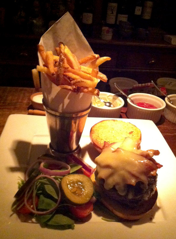 Cheeseburger and Fries served at the bar at Bolete, one of the best farm-to-table restaurants in the Lehigh Valley, located minutes from Historic Bethlehem