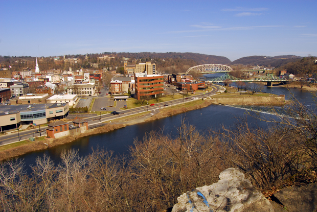 View of downtown Easton and the Delaware and Lehigh Rivers from Mt. Ida.