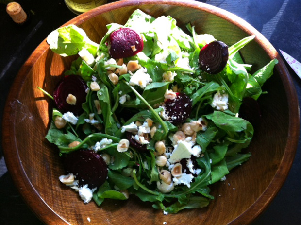 Beets, arugula, goat chees, honey vinaigrette and hazelnuts. Lehigh Valley Farmers' Market Cookbook.