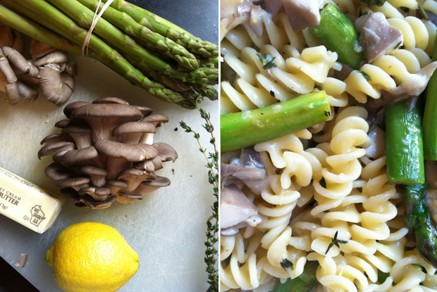 Mushroom Asparagus Pasta. Before & After. Photo by Carrie Havranek.