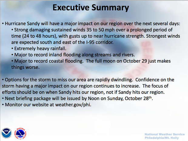 Hurricane Sandy Tracking by the National Weather Service
